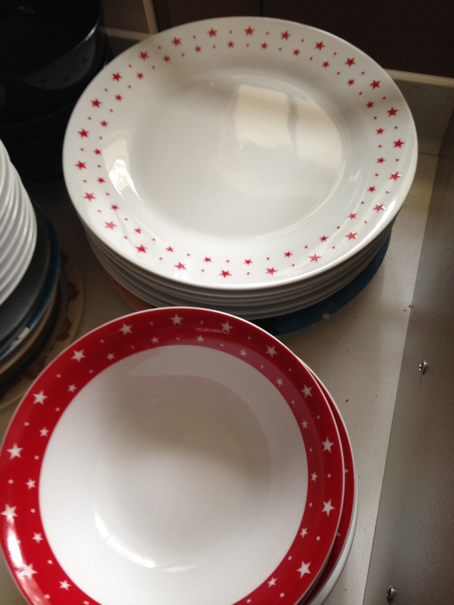 Christmas crockery has made it's way into my cupboards!  Oops!!